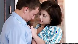 Cute young brunette teen first time anal