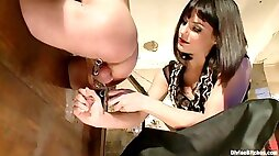 Brunette punishes her mans asshole and makes him submit