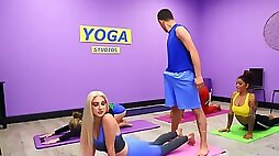Blonde teen with natural boobs seduces yoga instructor during lesson