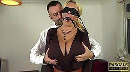 Blindfolded wife Shannon Boobs enjoys having passionate sex