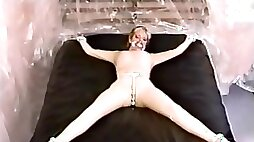 Clear penis gag then latex hood for rubber slave brandy