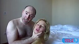 Hairy old man fucks blonde haired girl in both of her holes