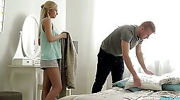 Slim teen Catania is fucked hard by a duo of college fellows