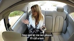 Lewd blonde gives blowjob and gets fucked by a taxi driver