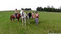 Naughty Susan G and other girls like to ride horses naked