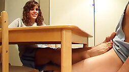 Awesome footjob under the dinner table