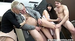 Foursome fucking with old and young amateur couple with cum on tits