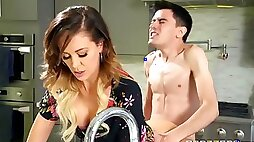 Pervert guy fucked sexy stepmom Cherie Deville on the bed