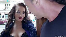 Attractive hottie in sexy stockings Adele Sunshine gets her anus rammed