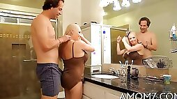 Petite blonde honey gets her pussy fucked on bathroom counter