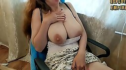 Milf sucks her milky saggy tits and shakes them