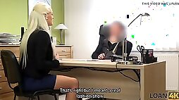 busty blonda blanche gives herself to loan agent in