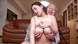 Old and young hardcore with amateur cute Japanese babe and lucky grandpa