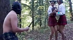 Masked peeping tom caught converted into a slave humiliated in the woods