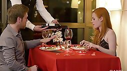 Romantic dinner ends up with a good fuck at the hotel