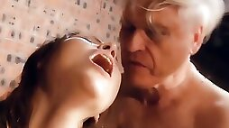 Grandpa Fucks her Young Pussy the Teen gives Blowjob and Swallows Cock