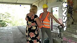Blonde mature BBW Oksana pounded missionary at a construction site