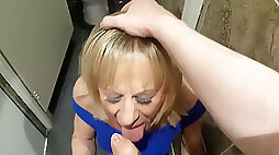 TGirl Pauline gagging on Mikes shaft in the club toilets.... AGAIN !!!