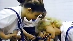Three babes fucked with police officer in the classroom