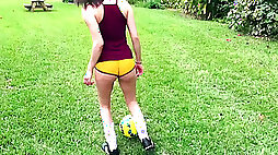 Soccer player Alex More choke on dick gets double penetrated outdoors for cash
