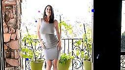 Skintight dress makes those big natural titties look great
