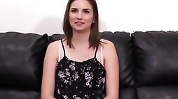 BACKROOM CASTING COUCH Young debutante Chloe creamed by big cock riding and blowjob