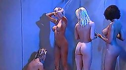 Oiled ass lesbian Debi Diamond moaning while her pussy licked