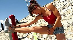 Sexercise sexy sporty Spanish teen julia roca fucked hard after workout on the beach