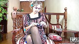 Smoking girl getting fucked in crotchless black pantyhose