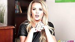 Nasty teacher in stockings Ashley Jayne spreads wide open