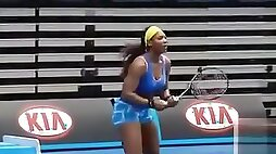Serena Williams warms up in skintight spandex