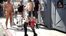 Busty mature exhibitionist with groping in public