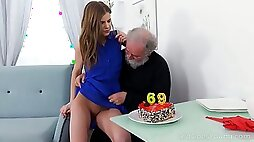 Ugly bearded pervert eats and fingers pussy of lusty fresh gal