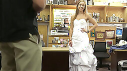 Hot blonde teen babe in wedding gown drilled by pawn keeper