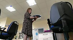 Teachers Legs spying on mature lady in the classroom