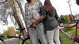Lucky guy gets fucked in public handjob outdoor quick blowjob from gf