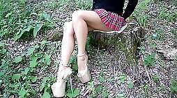 My legs without pantyhose high heels and a school mini skir