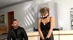 Busty blonde is fucked silly by a guy while wearing lingerie