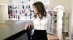 Shemale Customer Getting Pounded At The Lingerie Shop