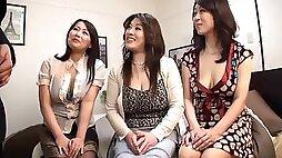 Three Japanese MILFs having wild CFNM sex with one guy