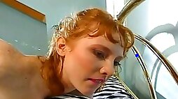 Ginger Babe Spread Wide By BIG Cock