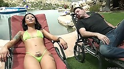 Kinky Asian gal with small tits Saya Song gives blowjob on the deck chair