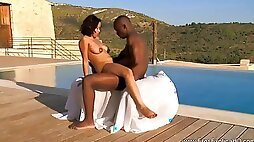 African couple orgasm together both indoors and outdoors