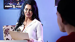 Porn agent Jasmine Jae fucks milks a young hunky performer in her office